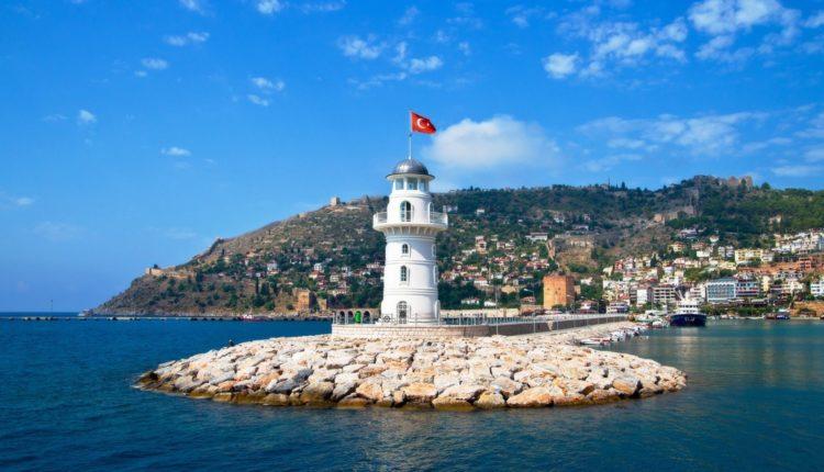 Lighthouse in port Alanya, Turkey.
