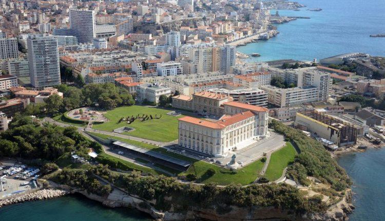 An aerial view shows the Mediterranean Sea and the Palais du Pharo in Marseille